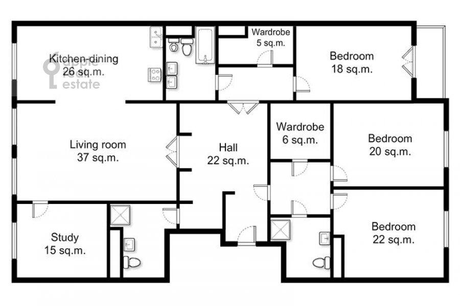 Поэтажный план 5-комнатной квартиры по адресу Трехгорный Вал ул. 14с1