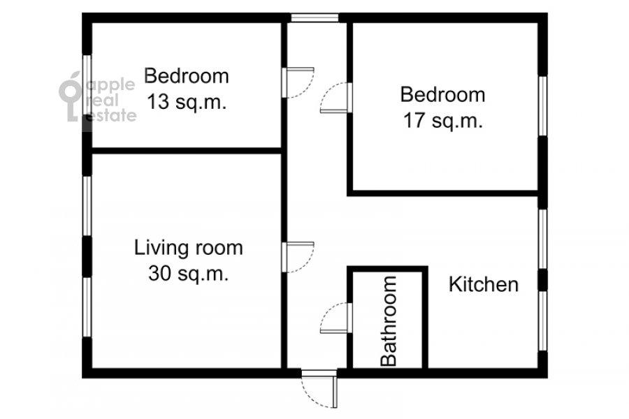 Поэтажный план 4-комнатной квартиры по адресу Кривоарбатский пер. 19