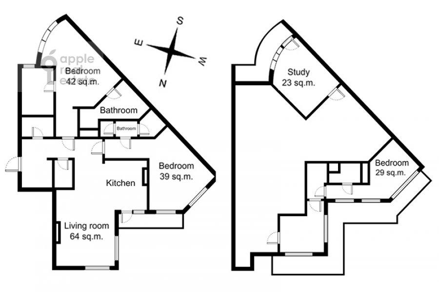 Floor plan of the 5-room apartment at Bol'shoy Tishinskiy pereulok 10s1