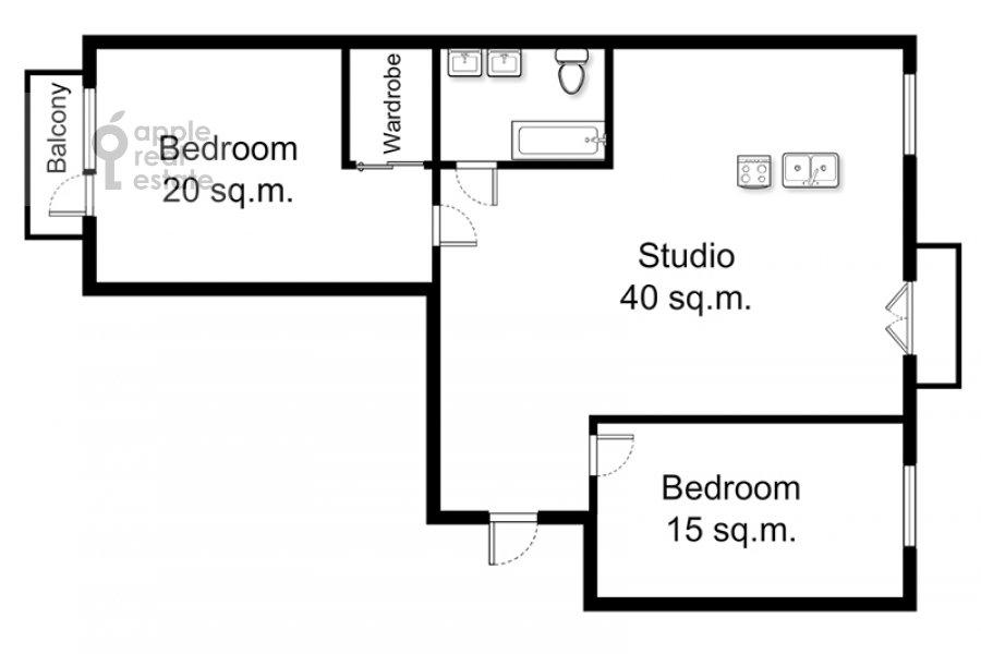 Поэтажный план 3-комнатной квартиры по адресу Ермолаевский пер. 18А