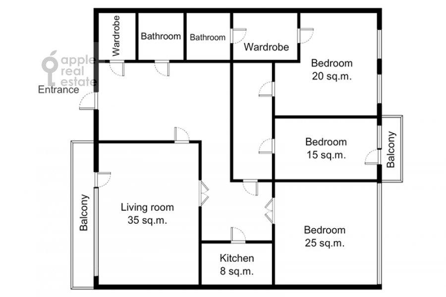 Floor plan of the 4-room apartment at Lyalin per. 19k1