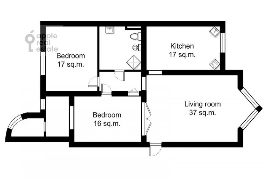 Поэтажный план 3-комнатной квартиры по адресу Новая 11