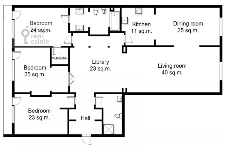 Floor plan of the 4-room apartment at 1-y Zachat'evskiy pereulok 5