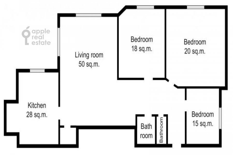 Поэтажный план 4-комнатной квартиры по адресу Брюсов пер. 1Б