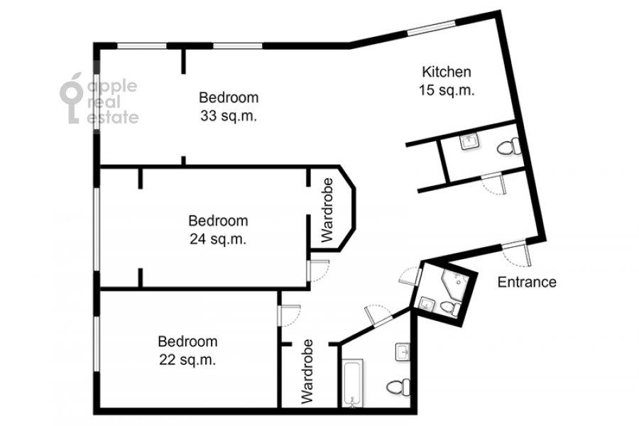 Поэтажный план 3-комнатной квартиры по адресу Шаболовка ул. 23с5