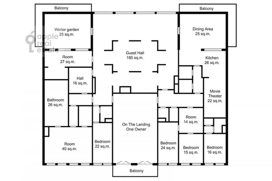 Floor plan of the 5-room apartment at Aviatsionnaya ulitsa 79