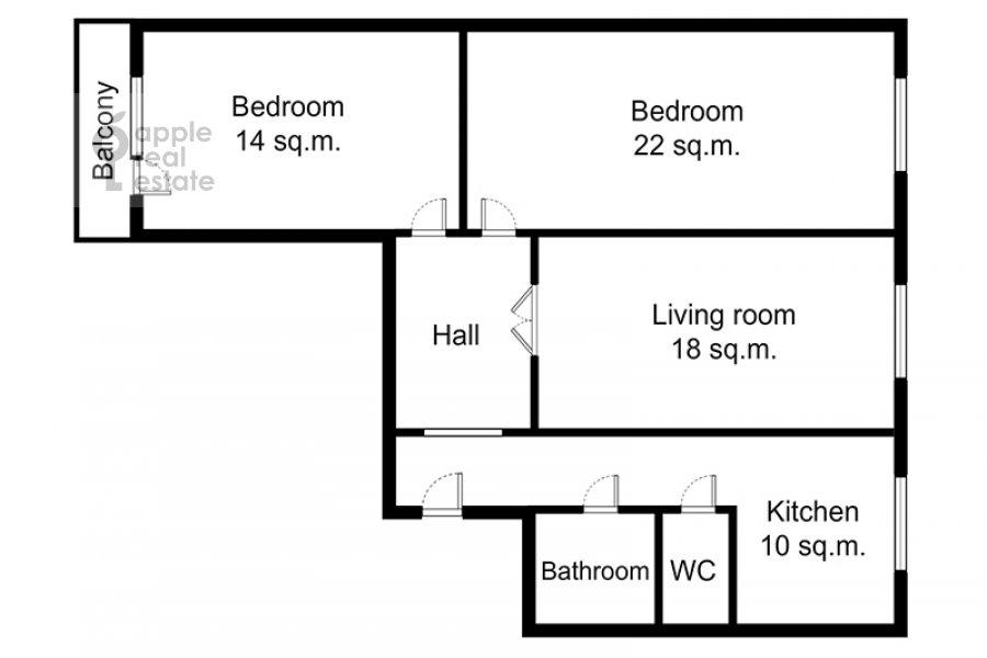 Floor plan of the 3-room apartment at Spasskaya Bol'shaya ul. 31
