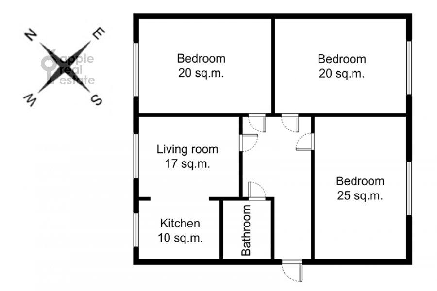 Floor plan of the 4-room apartment at Kazakova ul. 17/1s1