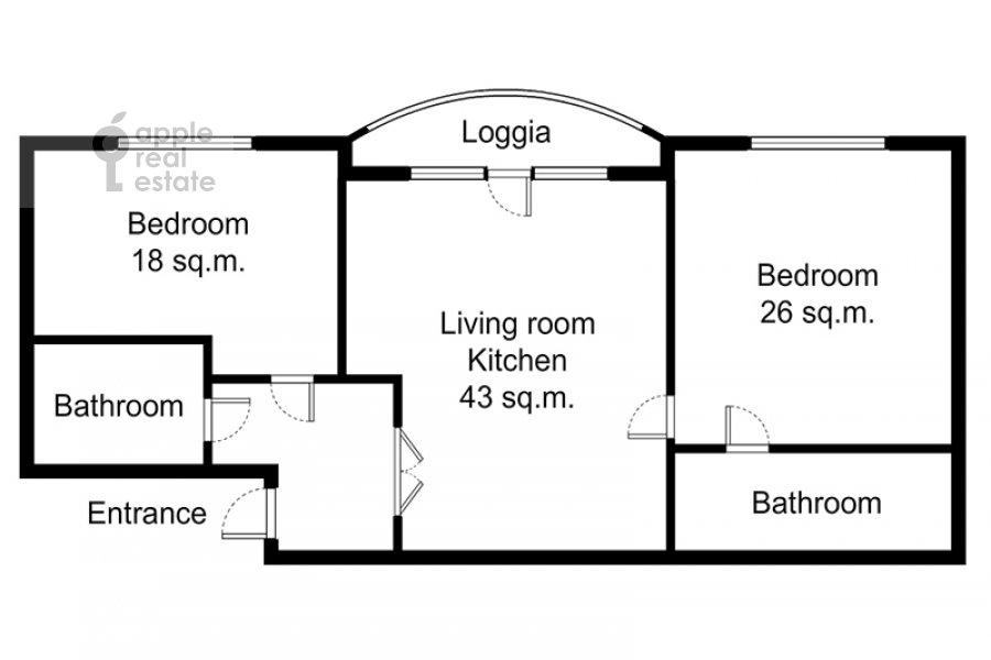 Floor plan of the 3-room apartment at Veskovskiy tupik 3