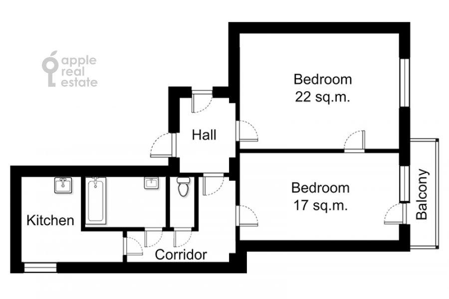 Floor plan of the 2-room apartment at Bol'shoy Patriarshiy per. 8s1