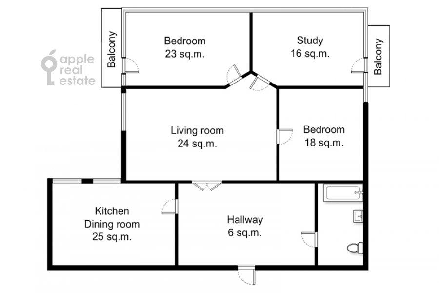 Поэтажный план 4-комнатной квартиры по адресу Серафимовича 2