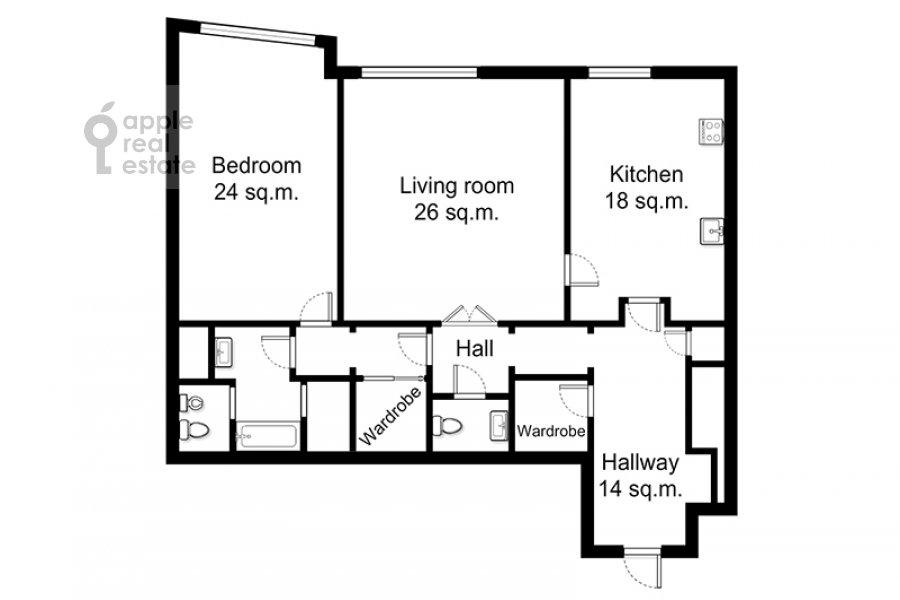 Поэтажный план 2-комнатной квартиры по адресу Богословский пер. 12А