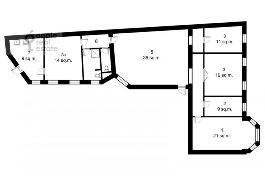 Floor plan of the 4-room apartment at Merzlyakovskiy pereulok 15