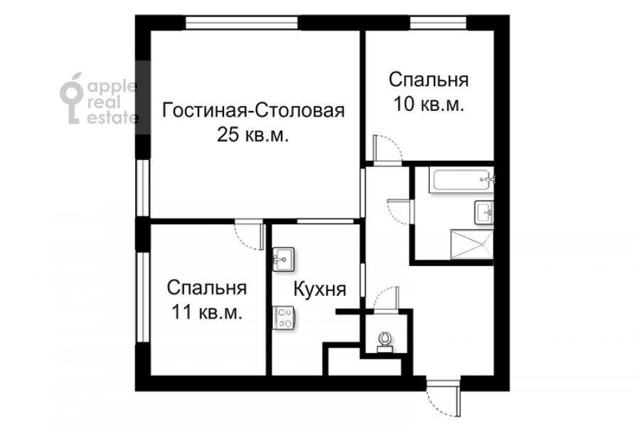 Floor plan of the 3-room apartment at Stanislavskogo ul. 11